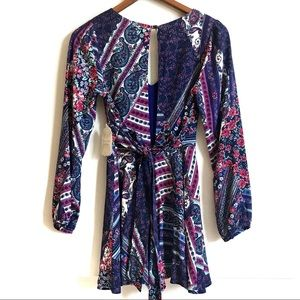 Altar'd State Printed Shorts Romper Long Sleeve